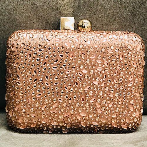 Rose Gold Crystal Cube/Ball Hard Clutch