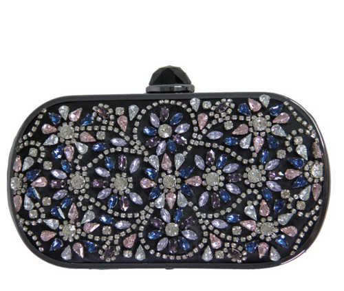 Viva l' Italia Crystallized Floral Clutch- BLK