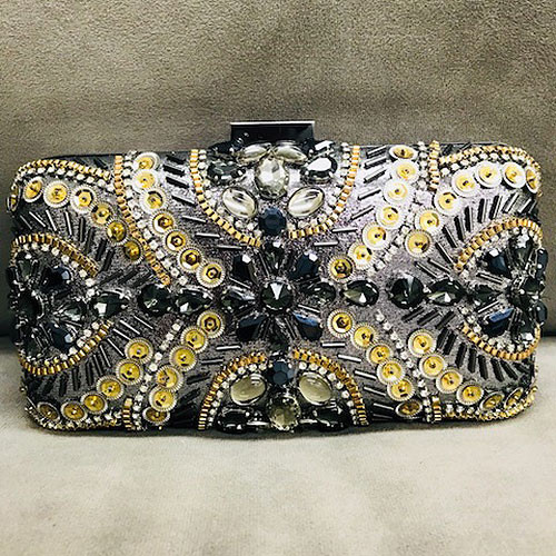Viva l' Italia Black and Gold Embellished Clutch