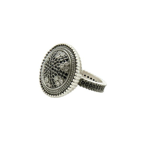 Freida Rothman Industrial Finish Round Pavé Cocktail Ring