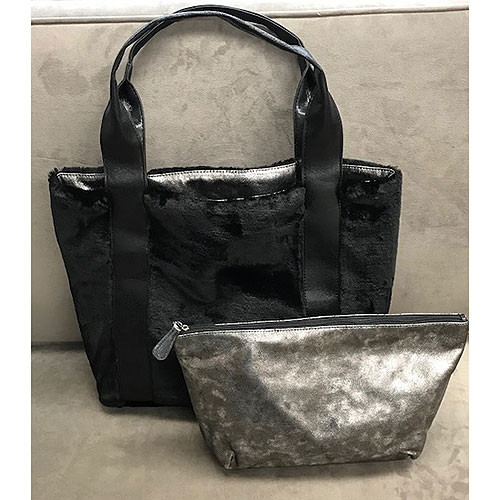Sondra Roberts Large Reversible Metallic/Fur Tote