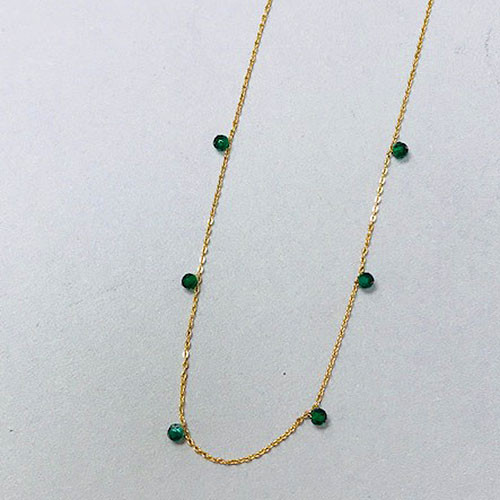 Tiny Emerald Bead Necklace