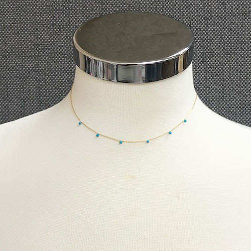 Tiny Turquoise Bead Necklace