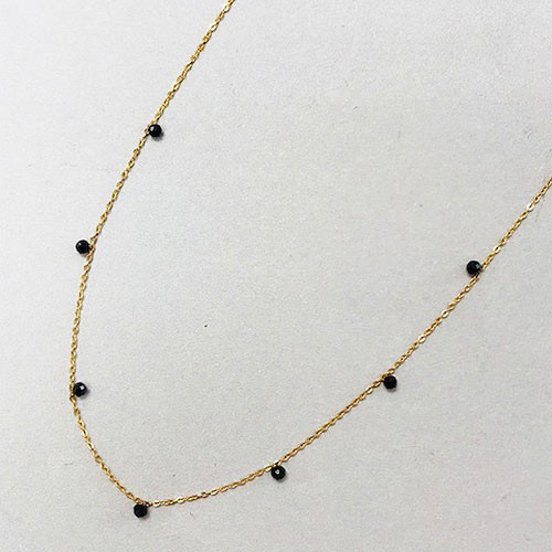 Tiny Black Spinel Bead Necklace