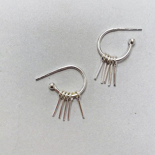 Dainty Silver Spike Dangle Hoops