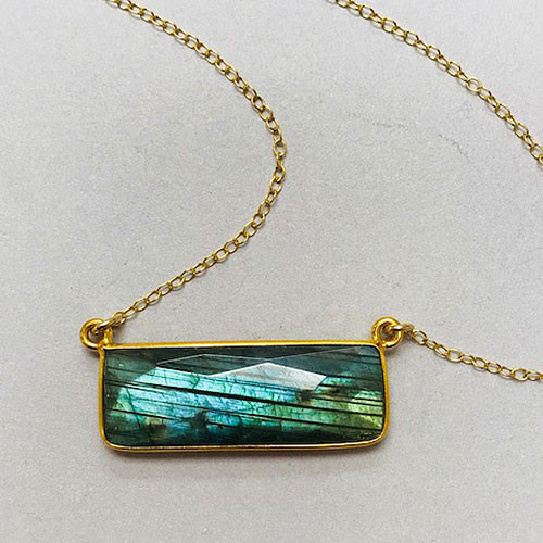 Labradorite Rectangle 24K Gold Vermeil Necklace