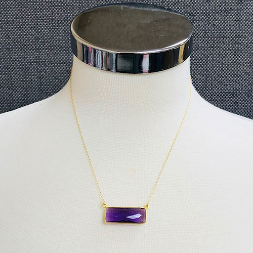 Amethyst Rectangle 24K Gold Vermeil Necklace