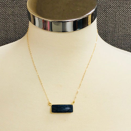 Lapis Lazuli Rectangle 24K Gold Vermeil Necklace