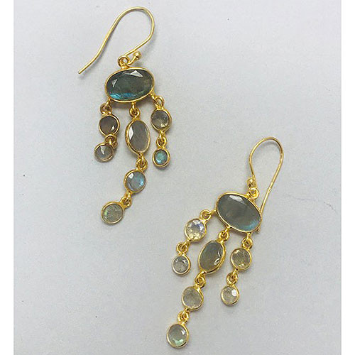 Genuine Labradorite Dangle Earrings in 24K Gold Vermeil