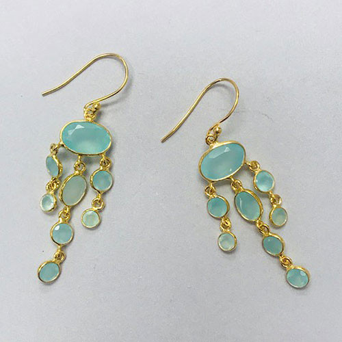 Genuine Aqua Blue Chalcedony Dangle Earrings in 24K Gold Vermeil