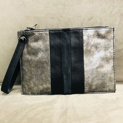 Sondra Roberts Color-Blocked Pewter Metallic Wristlet