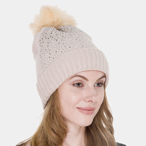 Knit and Crystal Pom Pom Hat