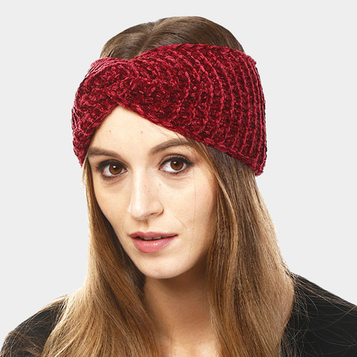 Chenille Knit Twisted Headbands