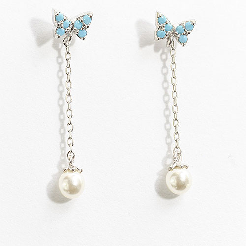 Tiny Butterfly with Pearl Dangle in Sterling Silver