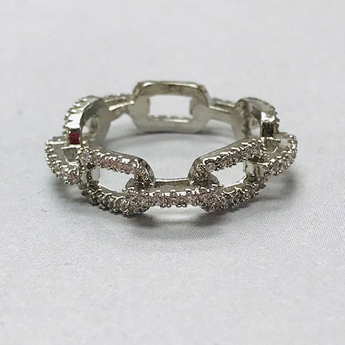Cubic Zirconia Rectangular Linked Chain Sterling Silver Ring
