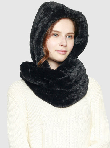 Super Soft Faux Fur Hooded Scarf