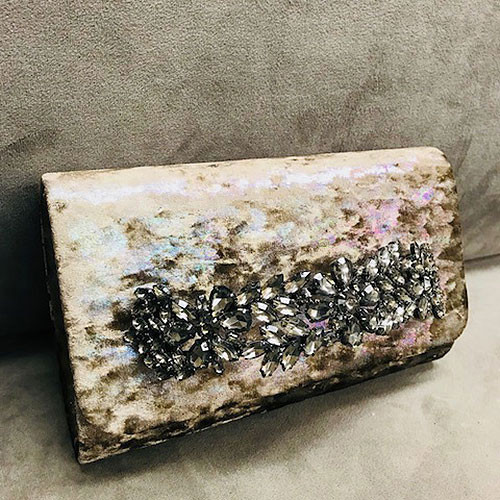 Sondra Roberts Iridescent Crushed Velvet Jeweled Bar Clutch-Bronze/Taupe