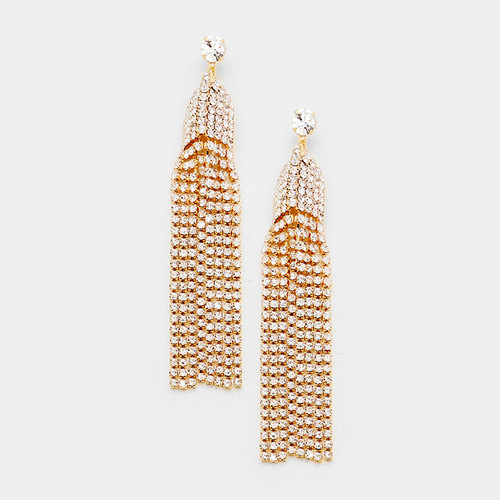 Party Time Crystal Tassel Earrings Gold and Clear