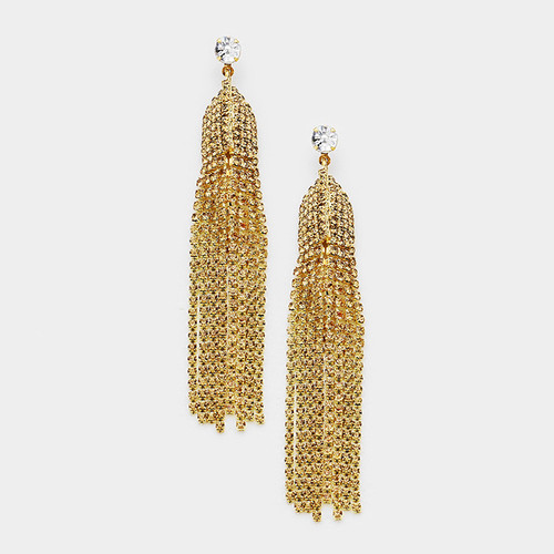 Party Time Crystal Tassel Earrings Light Colorado
