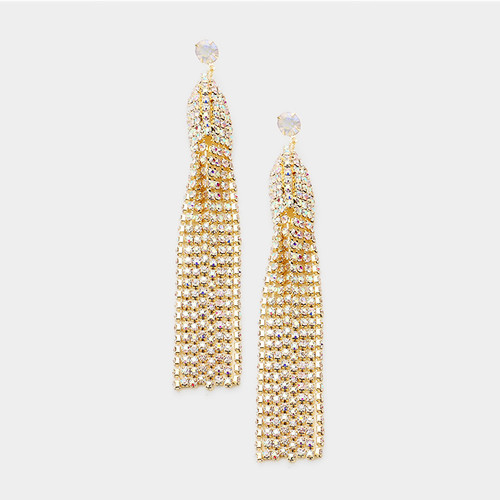 Party Time Crystal Tassel Earrings Gold AB