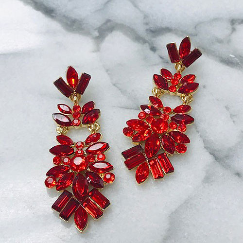 Red Siam Marquise Cut Crystal Chandelier Earring