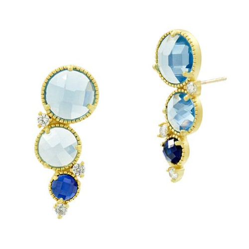 Freida Rothman Imperial Blue Climber Earrings