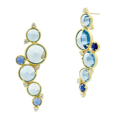 Freida Rothman Imperial Blue Cluster Earrings