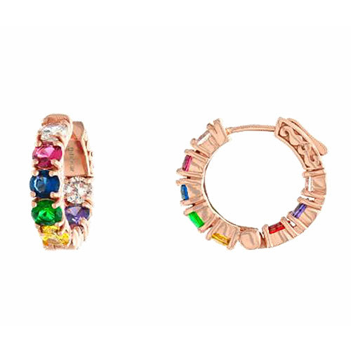 Rainbow Cubic Zirconia Ear Hugger Hoop Earrings