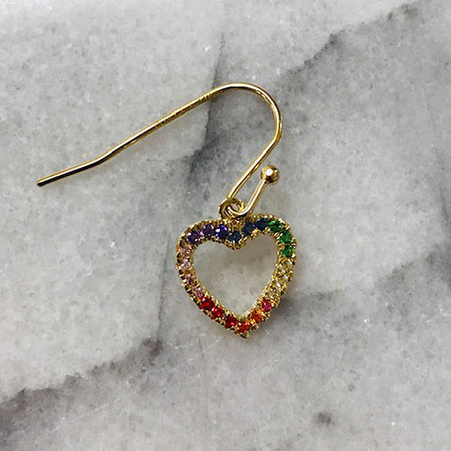 18K Gold Vermeil Rainbow Cubic Zirconia Heart Earrings
