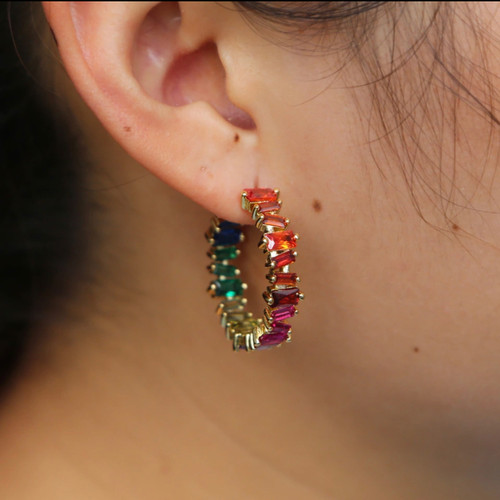 Rainbow Cubic Zirconia Baguette Hoop earrings