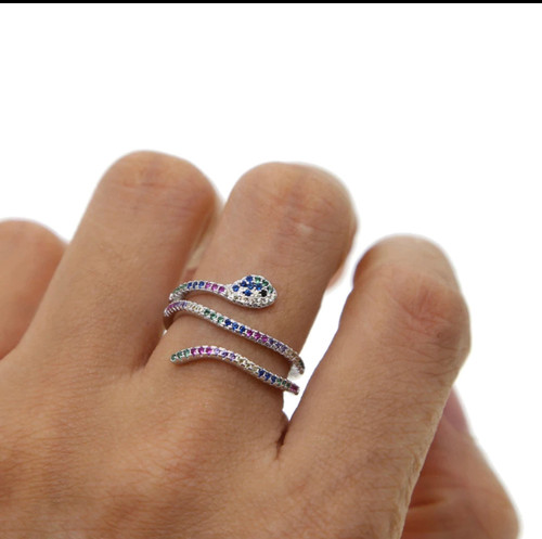 Multi-Colored Cubic Zirconia Snake Ring
