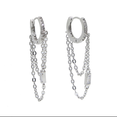 Cubic Zirconia Platinum Ear Hugger Hoops with Looped Chains