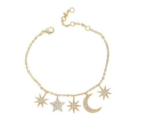 """Written in the Stars"" CZ Charm Bracelet"