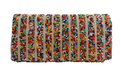 Multi-colored Seed Beaded Clutch