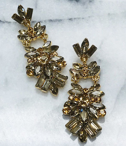 Soft Gold Marquise Cut Crystal Chandelier Earring