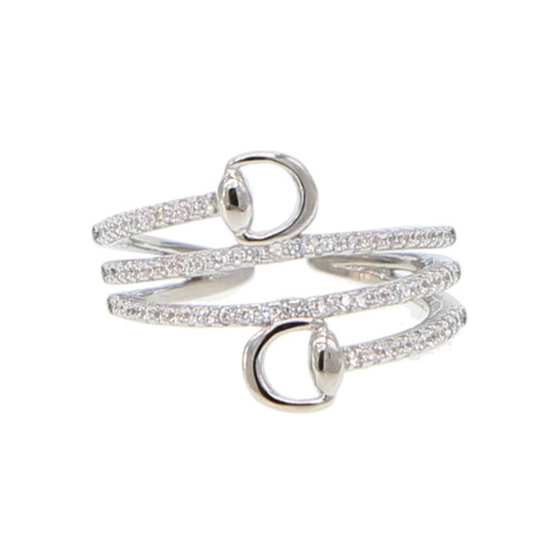 Cubic Zirconia Multi-Wrapped Horse Bit Ring