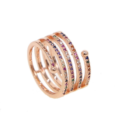 Multi-Colored Cubic Zirconia Wrap Ring