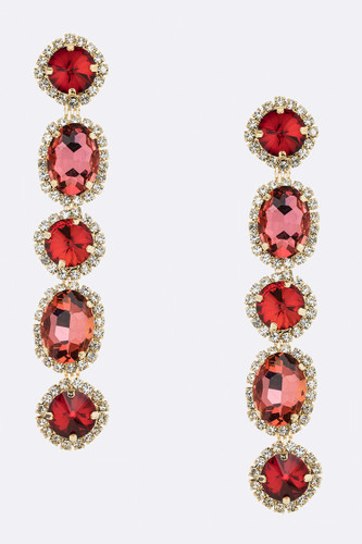 Faceted Five Crystal Dangle Earring in Pink