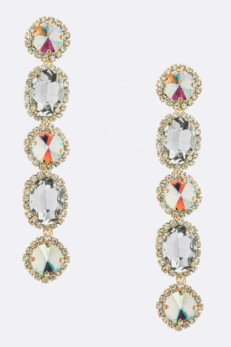 Faceted Five Crystal Dangle Earring in Gold AB