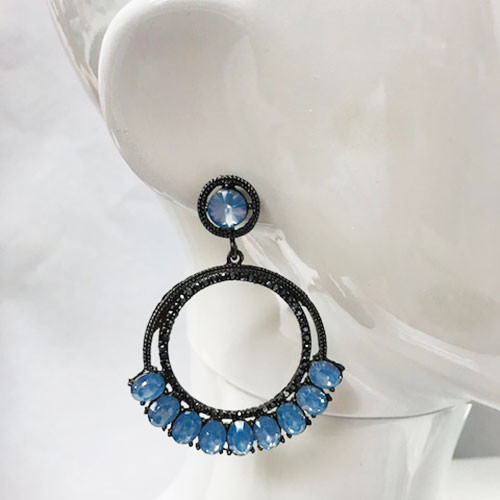 Hematite & Opaque Crystal Double Hoop Earrings