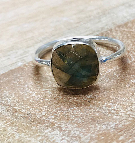 Genuine Labradorite Cushion Cut Sterling Silver Ring