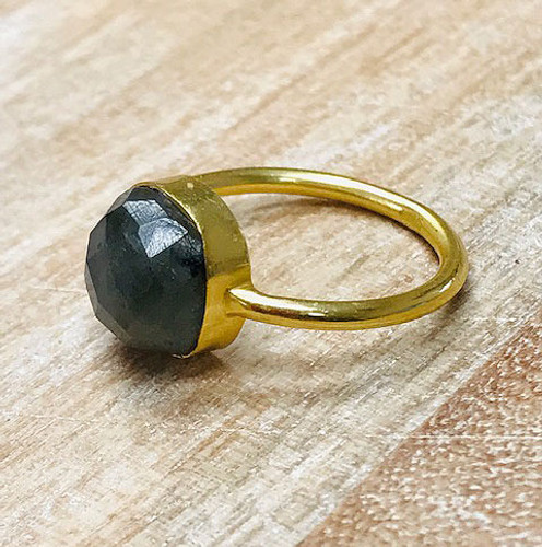 Genuine Labradorite Cushion Cut in Gold Vermeil Ring