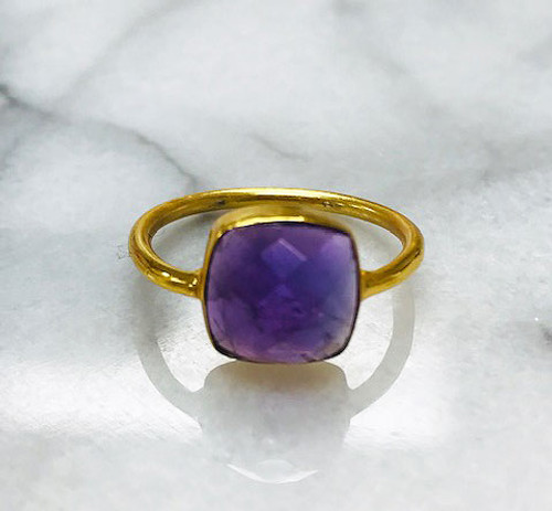 Cushion Cut Amethyst Bezel Vermeil Ring