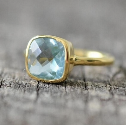 Stunning Blue Topaz Cushion Bezel Vermeil Ring