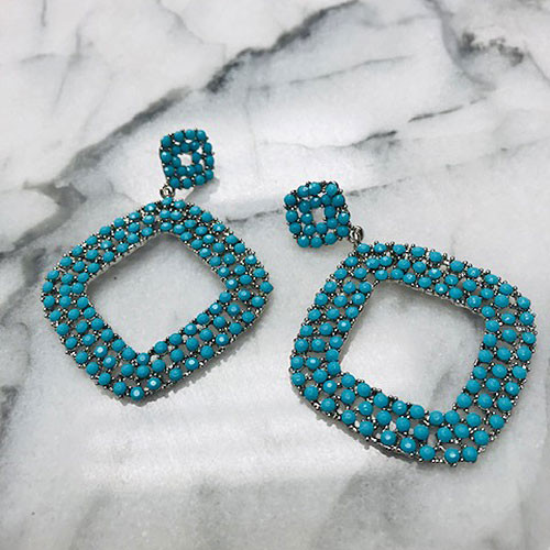 Turquoise Seed Bead Statement Dangle Earrings