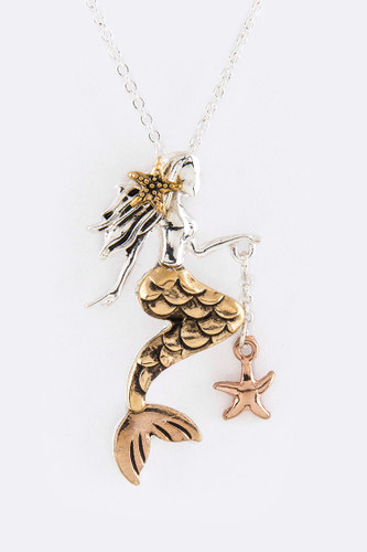 Tri-Colored Sculpted Mermaid Necklace