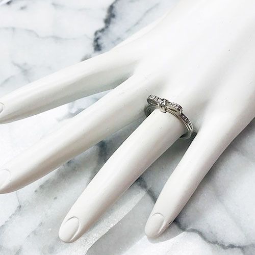 """Sterling Silver """"Always Remember"""" Dainty Cubic Zirconia Bow Ring"""