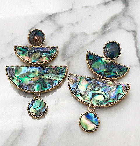 Abalone Shell Linked Shapes Earring