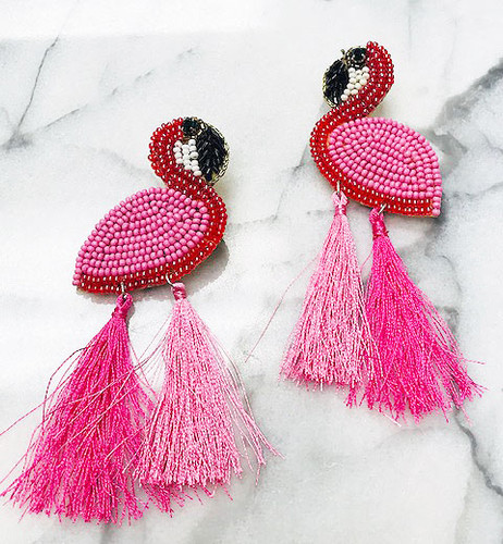 Hand Beaded Pink Flamingo & Tassel Earring