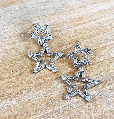 White Gold Rhodium Baguette Cubic Zirconia Open Star Dangle Earring